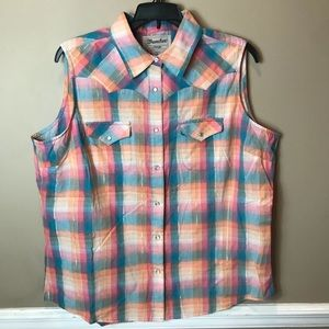 Wrangler Sz Xl Plaid Sleeveless Top